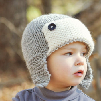 Baby Boys Toddler hat kids Hat Knit hat  6 - 12 Month Aviator pilot hat bomber hat lumberjack hat  Grey Gray Hat  Photo Prop Hat