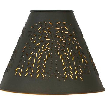 """4"""" x 10"""" x 8"""" Willow Punched Tin Shade - Rustic Brown"""