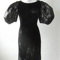 Vintage 1980s Black Velvet Cocktail Dress with Balloon Sleeves, Small to Medium