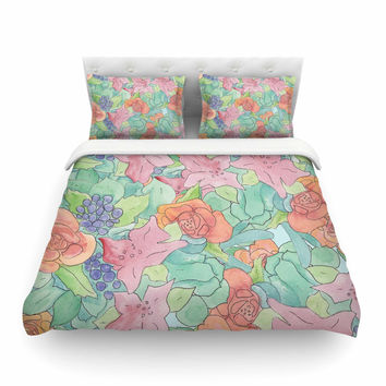 "Catherine Holcombe ""Southwestern Floral "" Green Purple Featherweight Duvet Cover"
