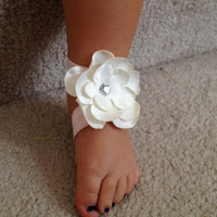 Pink and white flower bottomless sandals for baby girl, Flower shoes, Newborn Baby Shoes, Barefoot sandals