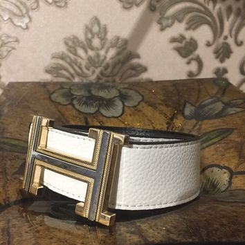 Hermes Mens Belt, Size 32 To 40 Waist , White Belt With Gold And Silver Buckle ,