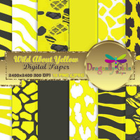 80% OFF Sale WILD About Sunny Yellow  ,paperpacks, commercial use, digital scrapbook papers, vector graphics, printable, Instant Download