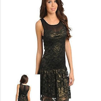 Women Fashion Black Lace Gold Shimmer Drop Waist Dress Cocktail Dressy Club Wear