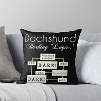 "Dachshund ""Barking is the Answer"" 16x16 Throw Pillow Decorative Cover Pop Culture Humor Funny Couch Art Home Cushion Black White Typography"