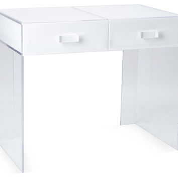 Square Vanity Table, White/Clear, Acrylic / Lucite, Vanities & Dressing Tables