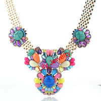 Colorful Gemstone Statement Necklace,Flower Statement Necklace Choker Necklace Jewelry