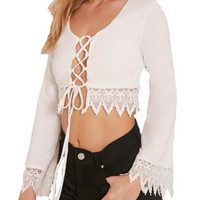 Lace Up Crochet Crop Top - White