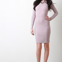 Marled Knit Backless Lace Up Long Sleeves Mini Dress