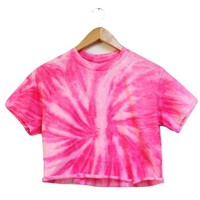 NEON COLLECTION: Rose Tie-Dye Cropped Tee