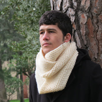 Knit infinity Men Scarf Cream. Block Infinity Scarf. Loop Scarf, Circle Scarf, Neck Warmer.Cream Men  Scarves, Guy, Man, Scarf for Men