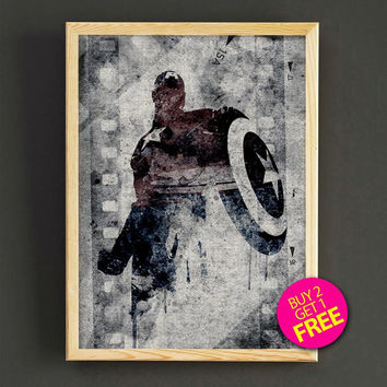 Captain America, Print, Superhero poster, Marvel, Art, Heroes Illustrations, Gift for him, Artwork, Comic poster, Gift, Home Decor - 390s2g