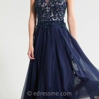Navy Mock Neck Prom Dresses By Dave And Johnny