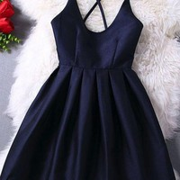 Scoop Cross Strap Back Black Simple Homecoming Dress