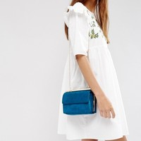New Look Suedette Chain Shoulder Bag at asos.com