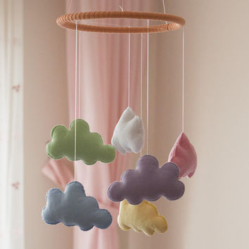 Cloud Baby Mobile, Cloud Nursery Mobile, Soft Cloud Nursery Mobile, Cloud Crib Mobile, Cloud Nursery Decor, Colorful Cloud Mobile