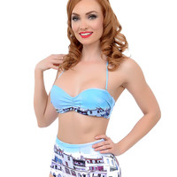 Estivo Blue Coastal Print Scenic High Waisted Retro Swim Bottom