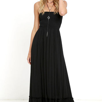 Dance Floor Darling Strapless Black Maxi Dress
