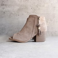 vegan suede tassel block heeled ankle boots - taupe