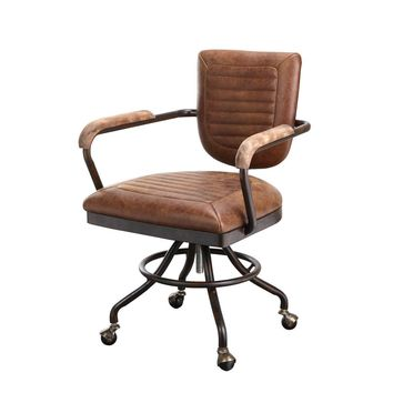 Foster Rustic Industrial Desk Chair - Soft Brown Top Grain Leather