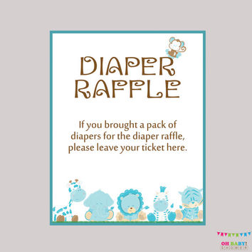 Diaper Raffle Ticket Cards and Diaper Raffle Sign Printable Boy Safari Baby Shower  Instant Download - Boy Safari Raffle Tickets  BS0001-B