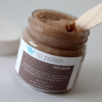 Rich Cocoa Lip Polish, natural vegan gluten-free lip scrub, with real cocoa