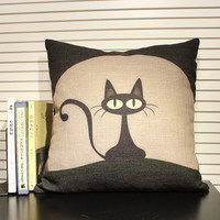 Housewares animal Pillow cat Pillow covers Cushion covers Linen pillow cover Home Decor Throw pillow