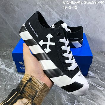 DCCK2x A1016 Adidas canvas cross-arrow zebra double-color sole graffiti low-top shoes Black