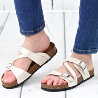 Bork Strappy Classic Slide On Sandals {Ivory}