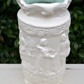 Vintage Porcelain Urn with French Details-Antique White and Shabby French-Rustic and Vintage Charming Decor.