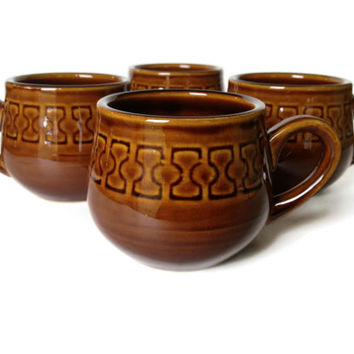 Vintage Mugs, Cambrian Stoneware, made in Japan, S/4