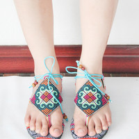Women's Size 6 Thai HMONG Thong Vintage Cotton Fabric Sandal Handmade (SD070_6)