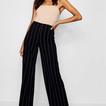 Tall Pinstripe Wide Leg Trousers | Boohoo