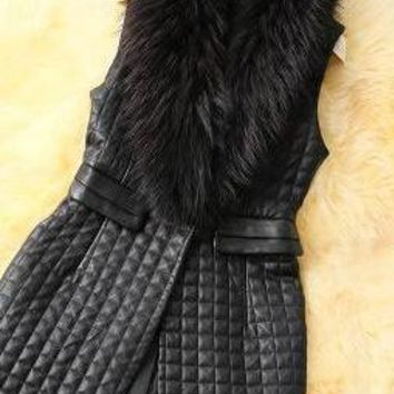 Autumn&Winter Fashion Women Fur Vest Jacket Long Design PU Leather Jacket  Slim Outerwear