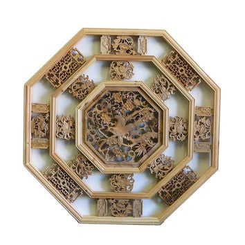 Chinese Octagon Flower Birds Wood Wall Plaque Panel