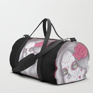 Dia De Los Muertos - Rose Duffle Bag by drawingsbylam
