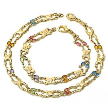Gold Layered 04.63.1229 Necklace and Anklet, with Multicolor Crystal, Polished Finish, Gold Tone