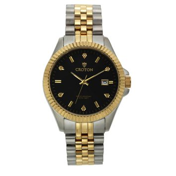 Croton Mens Stainless steel Two Tone Diamond Marker Watch