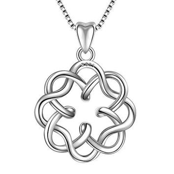 925 Sterling Silver Irish Infinity Endless Love Celtic Knot Vintage Pendant Necklace, Box Chain 18""