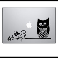 Supermarket: Owl on Branch - laptop notebook computer decal from Old Barn Rescue Company Wall Decals