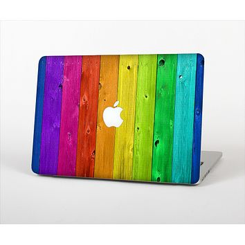 The Rainbow Highlighted Wooden Planks Skin Set for the Apple MacBook Air 13""