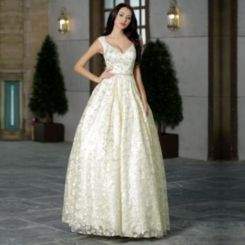 Luxury Prom Dresses for Women V-neck Beading Sexy See-through Simple Evening Dresses Long Ball Gowns Light Yellow