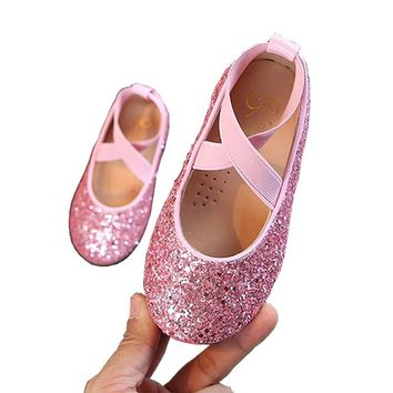 Children Little Girls Glitter Sequins Gold Pink Black Leather Shoes For  Girls Flat School Wedding Party 988920e4d6b5