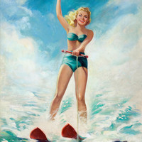Pin-Up Girl Wall Decal Poster Sticker - Pin-Up Water Skiing - Blonde Pin Up Pinup