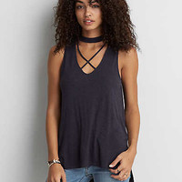 AEO Criss Cross Tank , True Black