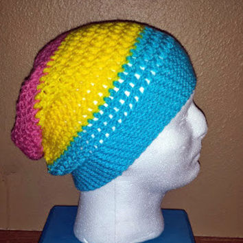 PANSEXUAL PRIDE Slouch Crochet Beanie
