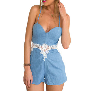 2016 summer blue casual sexy off shoulder romper lace patchwork slim peplum waisted playsuit femme backless bandage overalls