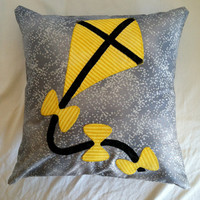 Kappa Alpha Theta Black and Gold Yellow Kite Pillow Cushion with Grey and Silver Background