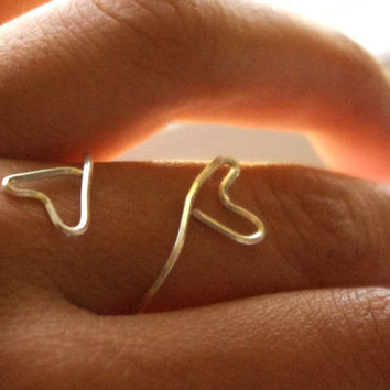 Heart Wire Ring  Silver by SassiChic on Etsy