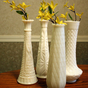 Set of four Milk Glass Vases.  Vintage Milk Glass Vases, wedding decor, home decor